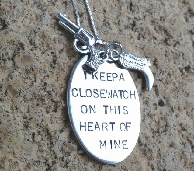 I keep a close watch on this heart of mine, walk the line, johnny cash, cowboy boot necklace, gifts for her, Mothers Day, natashaaloha - Natashaaloha, jewelry, bracelets, necklace, keychains, fishing lures, gifts for men, charms, personalized,
