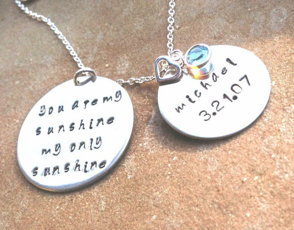 you are my sunshine necklace, Hand Stamped Necklace, Personalized Necklace, Daughter Necklace, Christmas Gifts - Natashaaloha, jewelry, bracelets, necklace, keychains, fishing lures, gifts for men, charms, personalized,