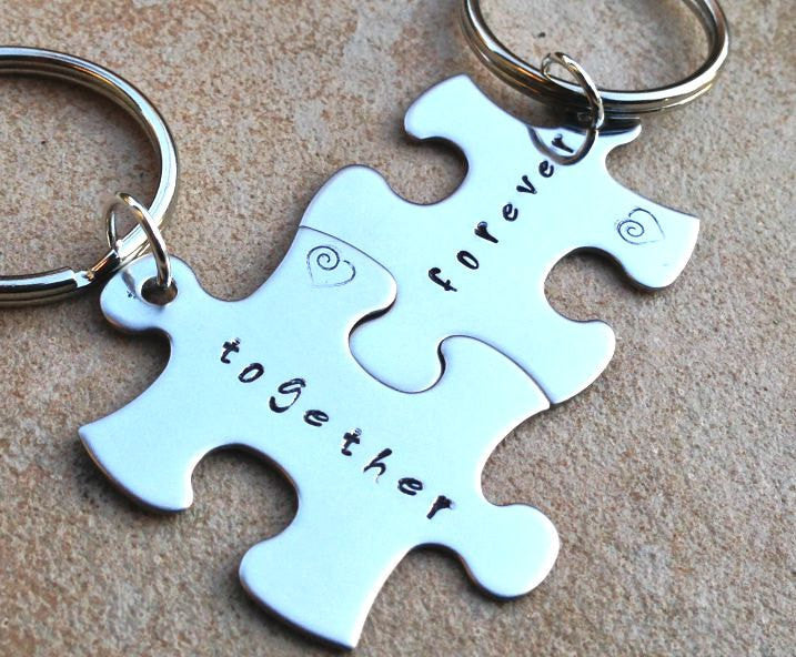 Fathers Day Gift,Puzzle key chains, love key chains, together forever, just married,bride and groom, custom key chains, puzzle, personalized - Natashaaloha, jewelry, bracelets, necklace, keychains, fishing lures, gifts for men, charms, personalized,