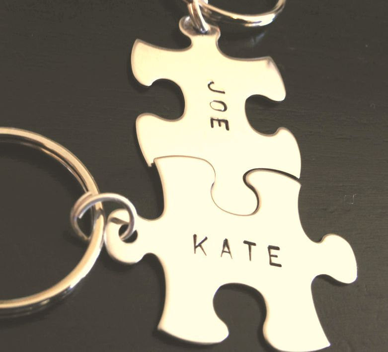 Boyfriend Gift, Puzzle key chains, Personalized Puzzle Keychains, love key chains, his and hers key chains, custom key chains, puzzle - Natashaaloha