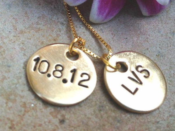 Monogram Necklace, Gold Personalized Necklace, Mothers Necklace, Custom Wedding Necklace, Personalized Gold, Name and Date Necklace - Natashaaloha, jewelry, bracelets, necklace, keychains, fishing lures, gifts for men, charms, personalized,