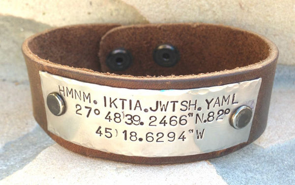 Husband Gift, Boyfriend Gift, Mens Bracelet, Personalized Mens Cuff, Leather bracelet, Coordinance location, Hand Stamped - Natashaaloha, jewelry, bracelets, necklace, keychains, fishing lures, gifts for men, charms, personalized,