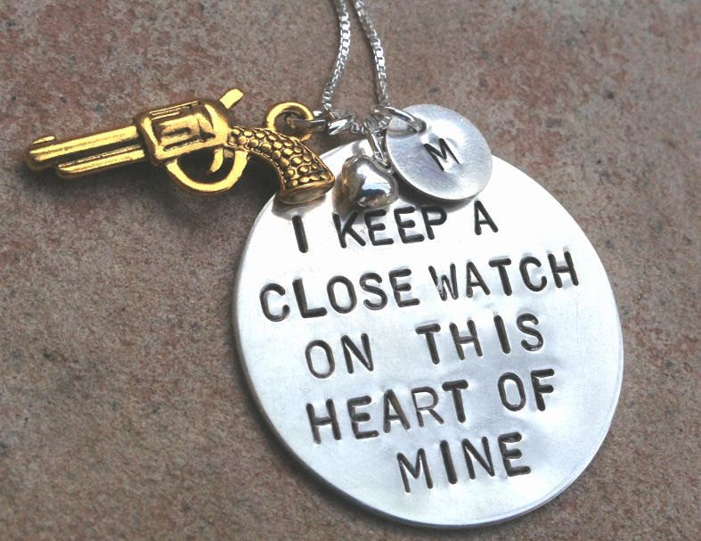 Sterling Silver Johnny Cash Necklace, Keep A Close Watch - Natashaaloha, jewelry, bracelets, necklace, keychains, fishing lures, gifts for men, charms, personalized,