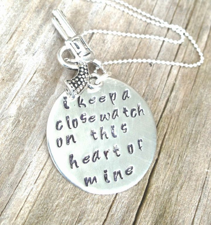 johnny cash necklace, i keep a close watch on this heart of mine, Johnny Cash Necklace, hand stamped necklace, natashaaloha - Natashaaloha, jewelry, bracelets, necklace, keychains, fishing lures, gifts for men, charms, personalized,