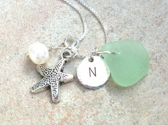 Sea Glass Beach Necklace - Natashaaloha, jewelry, bracelets, necklace, keychains, fishing lures, gifts for men, charms, personalized,