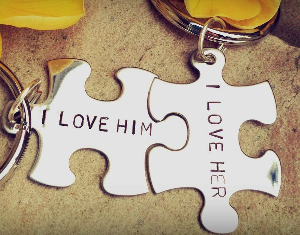 Custom Puzzle Keychain, I Love Her I Love Him - Natashaaloha, jewelry, bracelets, necklace, keychains, fishing lures, gifts for men, charms, personalized,
