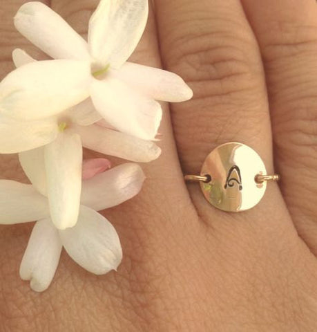 Gold Initial Ring, Christmas Gifts Women, Personalized Rings, Hand Stamped Initial Ring, Daughter Ring, Gold Ring - Natashaaloha, jewelry, bracelets, necklace, keychains, fishing lures, gifts for men, charms, personalized,