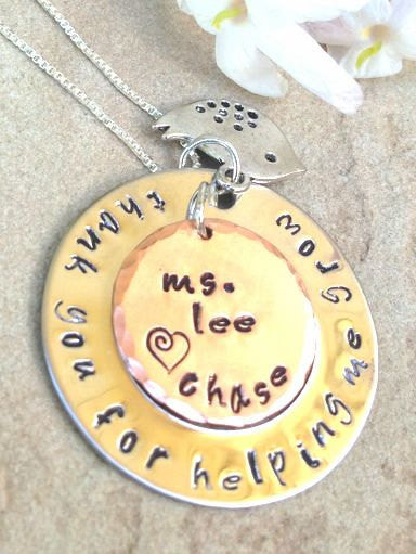 teacher gift, teacher appreciation, thank you for helping me grow, teacher from child, teacher necklace, teacher thank you gift