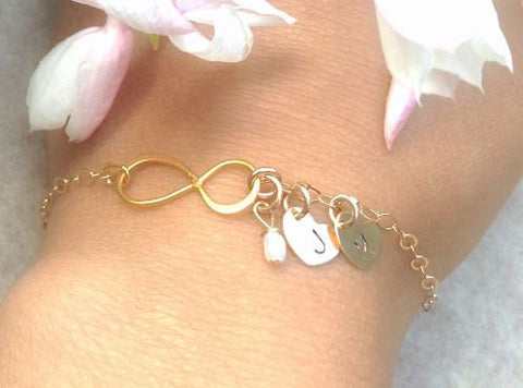 infinity bracelet, infinity jewelry, mother daughter bracelet, bridesmaid gifts, will you be my bridesmaid, will you be my maid of honor - Natashaaloha, jewelry, bracelets, necklace, keychains, fishing lures, gifts for men, charms, personalized,