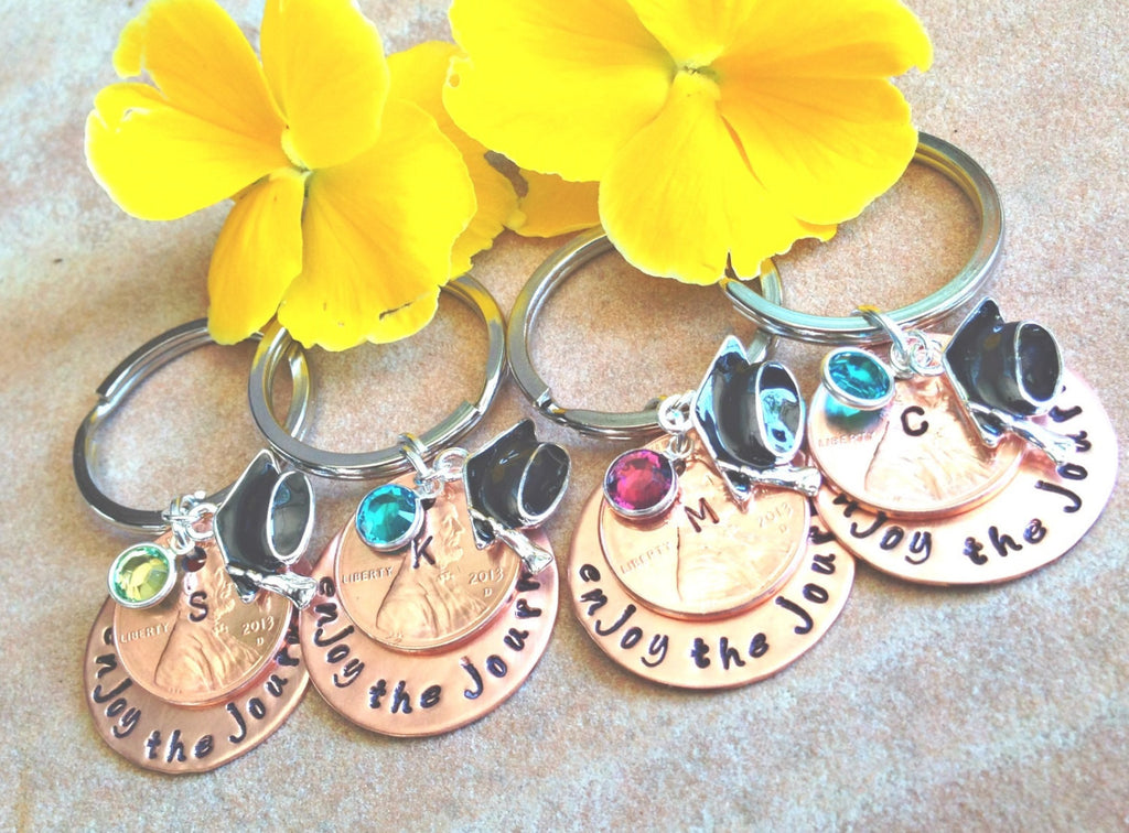 graduation gift, graduation keepsake, 2016 graduate, personalized graduation, enjoy the journey, follow your dreams, penny key chain, 2016 - Natashaaloha
