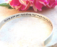 thank you for raising the man of my dreams, mother of the groom, sterling silver bracelet, secret message bracelet, cuff, personalized gift - Natashaaloha, jewelry, bracelets, necklace, keychains, fishing lures, gifts for men, charms, personalized,