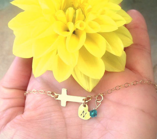 Personalized Baby Bracelet, Cross Bracelet, Children's Bracelet, Toddler Bracelet, Initial Bracelet - Natashaaloha, jewelry, bracelets, necklace, keychains, fishing lures, gifts for men, charms, personalized,