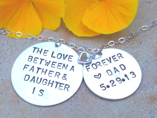 the love between a father and daughter is forever, personalized necklace, hand stamped jewelry, natashaaloha, gifts for daughter, for her - Natashaaloha, jewelry, bracelets, necklace, keychains, fishing lures, gifts for men, charms, personalized,