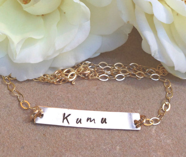 Personalized Gold Bar Necklace, Valentine Gifts Mom, Mothers Day, Monogram Necklace, Initial Bar Necklace, Name Necklace,natashaaloha - Natashaaloha, jewelry, bracelets, necklace, keychains, fishing lures, gifts for men, charms, personalized,