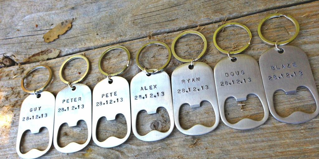 Groomsmen Bottle Openers Hand Stamped, Personalized Bottle Openers - Natashaaloha, jewelry, bracelets, necklace, keychains, fishing lures, gifts for men, charms, personalized,