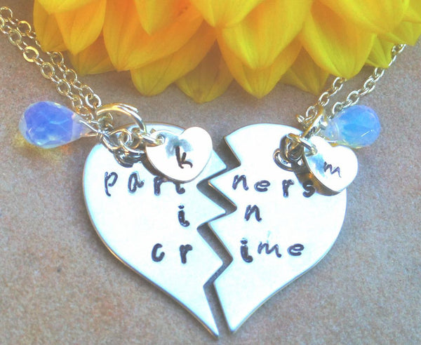 Partners in Crime, Partners In Crime Necklace, hand stamped personalized necklace, best friends necklace - Natashaaloha, jewelry, bracelets, necklace, keychains, fishing lures, gifts for men, charms, personalized,