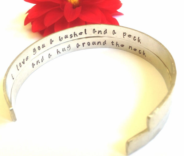 cuff, bracelet, personalized bracelets, i love you a bushel and a peck and a hug around the neck, mother daughter bracelet, quote bracelet - Natashaaloha, jewelry, bracelets, necklace, keychains, fishing lures, gifts for men, charms, personalized,