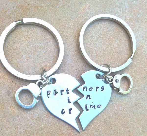 Partners In Crime Keychain - Natashaaloha, jewelry, bracelets, necklace, keychains, fishing lures, gifts for men, charms, personalized,