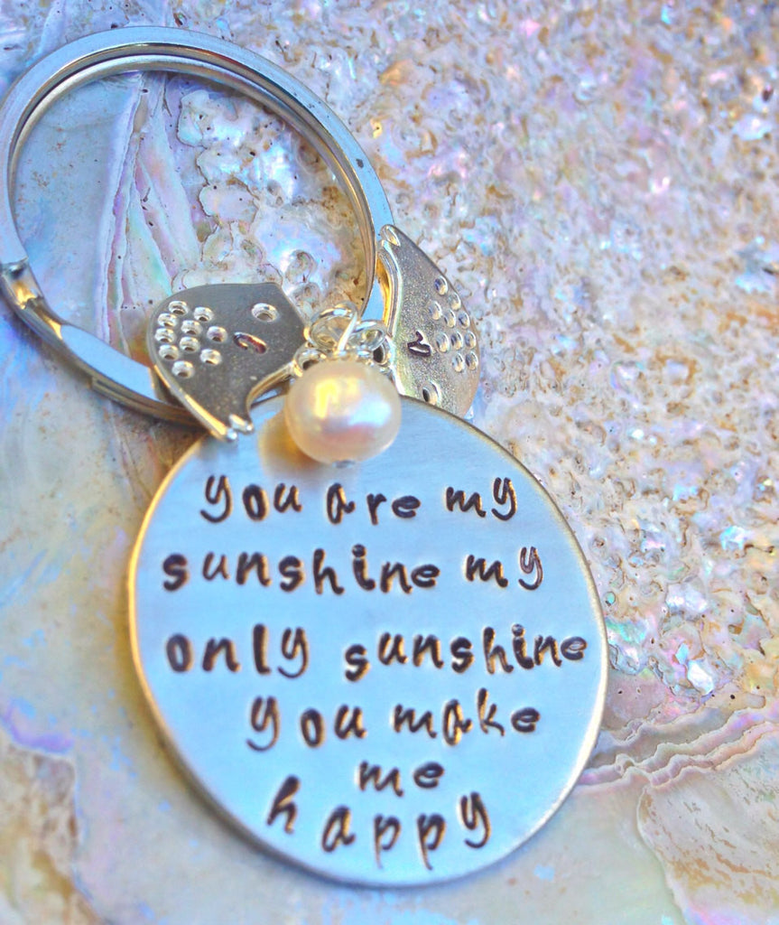 Valentine Gift, you are my sunshine my only only sunshine, mother daughter keychain, father daughter keychain, couples keychain - Natashaaloha, jewelry, bracelets, necklace, keychains, fishing lures, gifts for men, charms, personalized,