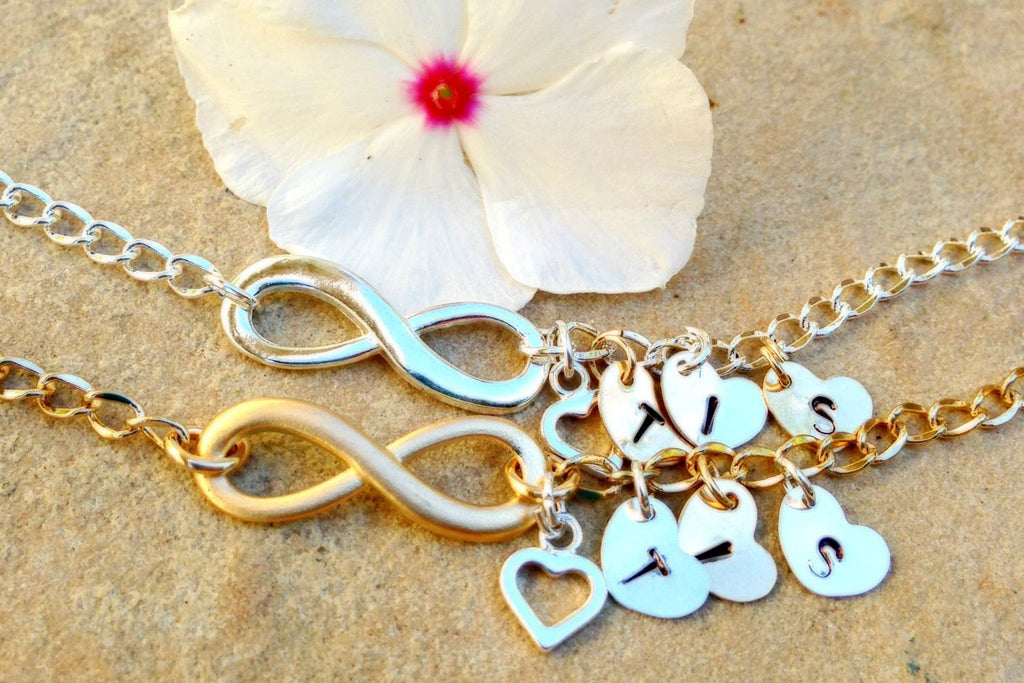 infinity, personalized infinity bracelet anklet,Infinity Bracelet, mom and daughter, initial Bracelet, Sister Bracelets, bridal jewelry - Natashaaloha, jewelry, bracelets, necklace, keychains, fishing lures, gifts for men, charms, personalized,