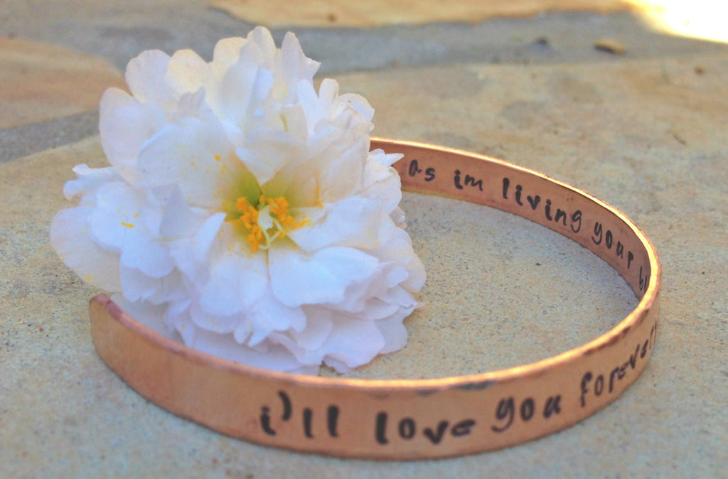 I'll Love You Forever I'll Like You For Always, Hand Stamped Cuff, Cuff Bracelet, Mother Daughter Gifts, Cuffs, Mothers Day, natashaaloha - Natashaaloha, jewelry, bracelets, necklace, keychains, fishing lures, gifts for men, charms, personalized,