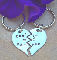 you're my person, you're my person keychain, Grey's anatomy, personalized key chains, couple keychain, hand stamped - Natashaaloha, jewelry, bracelets, necklace, keychains, fishing lures, gifts for men, charms, personalized,