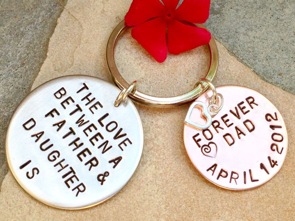 the love between a father and daughter is forever, father daughter keychain, gifts from dad, gifts to daughter, key chains - Natashaaloha, jewelry, bracelets, necklace, keychains, fishing lures, gifts for men, charms, personalized,