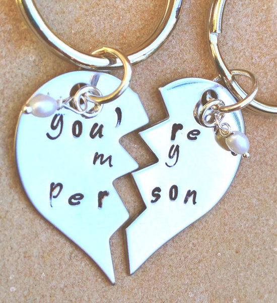 you're my person, you're my person keychain, maid of honor gift, bridesmaid gift, personalized key chains, couple keychain - Natashaaloha, jewelry, bracelets, necklace, keychains, fishing lures, gifts for men, charms, personalized,