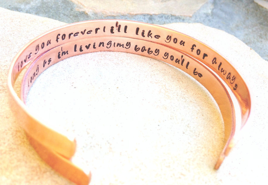 cuff, cuff bracelet, I'll love you forever ill like you for always, forever my baby you'll be, Mothers Day, mother daughter bracelet - Natashaaloha, jewelry, bracelets, necklace, keychains, fishing lures, gifts for men, charms, personalized,