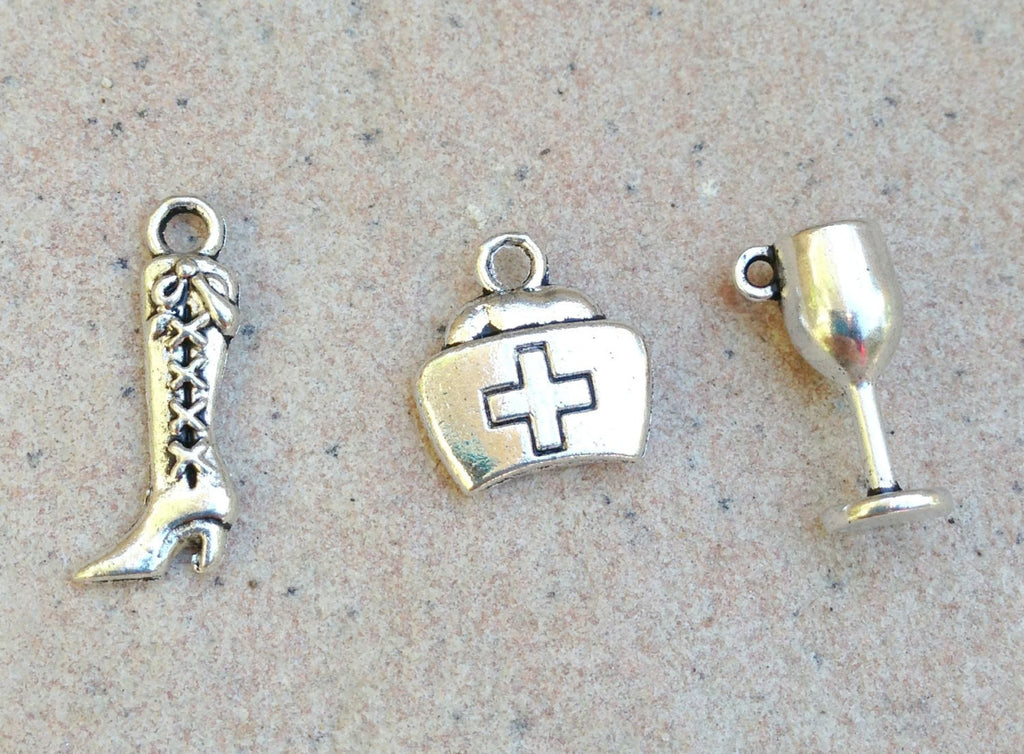 wine glass charm, wine charm, cowgirl boot charm, glass charm, nurse charm, charms, add a charm, natashaaloha charms - Natashaaloha, jewelry, bracelets, necklace, keychains, fishing lures, gifts for men, charms, personalized,