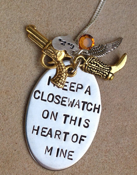 I Keep A Close Watch On This Heart Of Mine, Johhny Cash Necklace, Mother's Day Necklace, Girlfriend Gift, natashaaloha - Natashaaloha, jewelry, bracelets, necklace, keychains, fishing lures, gifts for men, charms, personalized,
