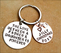 the love between a father and daughter is forever, Personalized Keychains, father daughter,gifts from dad, gifts to daughter,alohanatasha - Natashaaloha, jewelry, bracelets, necklace, keychains, fishing lures, gifts for men, charms, personalized,
