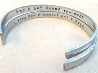 cuff, cuff bracelet, message bracelet, personalized jewelry, personalized bracelets, i love you a bushel and a peck, mother daughter - Natashaaloha, jewelry, bracelets, necklace, keychains, fishing lures, gifts for men, charms, personalized,
