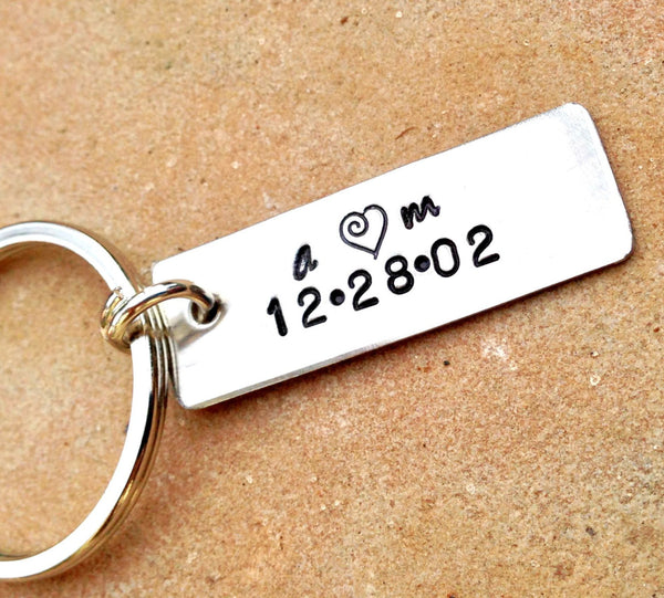Personalized Boyfriend Keychain, Initial and date Keychain - Natashaaloha, jewelry, bracelets, necklace, keychains, fishing lures, gifts for men, charms, personalized,