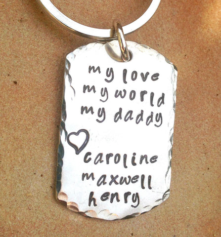 Father's Day Keychain, Personalized Keychain For Dad,  Hand Stamped Keychain, Boyfriend Gift, Personalized Custom Keychain, natashaaloha - Natashaaloha, jewelry, bracelets, necklace, keychains, fishing lures, gifts for men, charms, personalized,