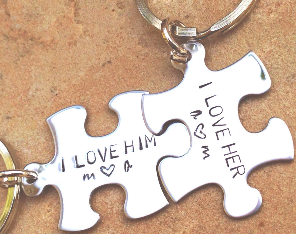 Personalized Puzzle Keychain, I Love Him I Love Her Keychain, Puzzle Keychains, His and Hers Gifts - Natashaaloha, jewelry, bracelets, necklace, keychains, fishing lures, gifts for men, charms, personalized,