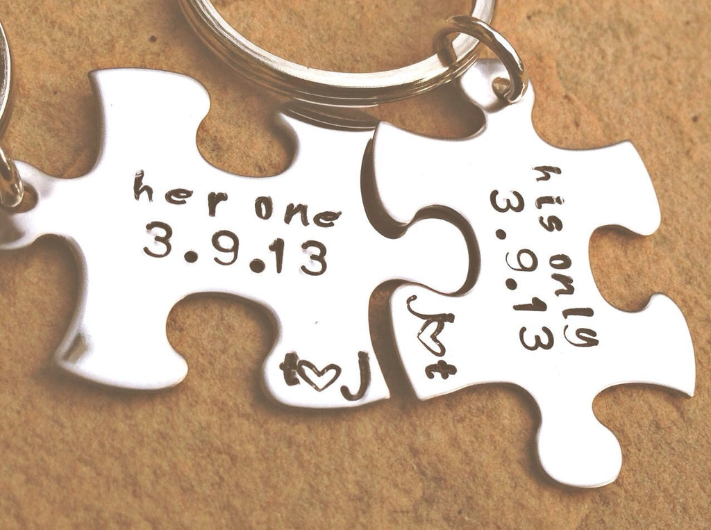 her one his only, couple keychain, Boyfriend Gift, for him and her, anniversary gifts, puzzle key chain, always and forever, hand stamped - Natashaaloha, jewelry, bracelets, necklace, keychains, fishing lures, gifts for men, charms, personalized,