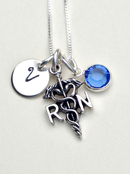 nurse necklace, gifts for nurses, nurse gift, RN necklace, initial necklace, personalized neckalce, gifts for her, mothers day, necklace