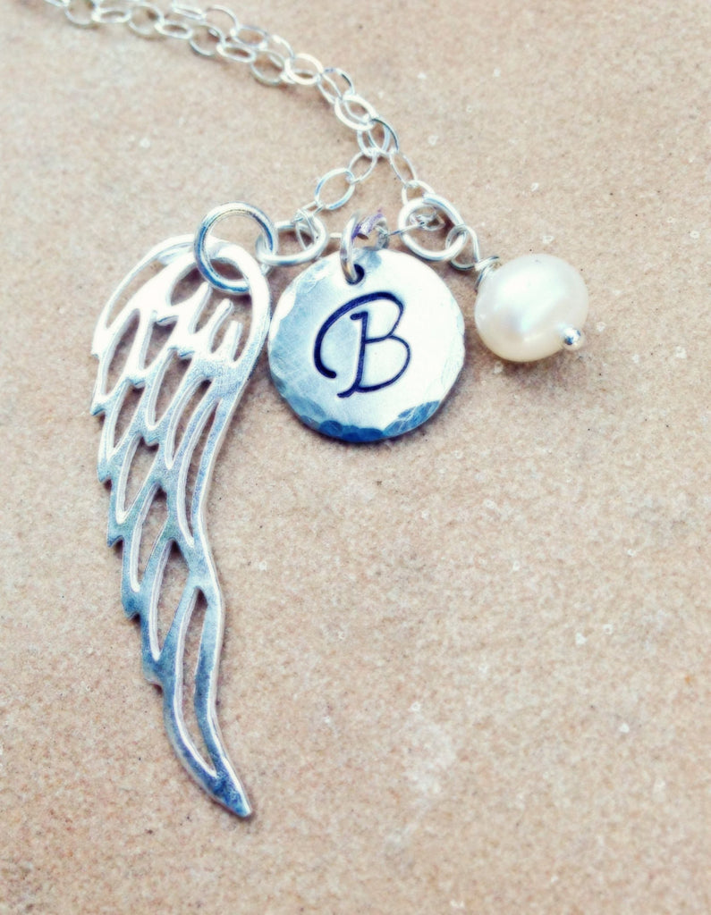Personalized Necklace, Christmas Gift, Angel Wing Necklace, Gifts for Mom, Gifts for Daughter, natashaaloha - Natashaaloha, jewelry, bracelets, necklace, keychains, fishing lures, gifts for men, charms, personalized,