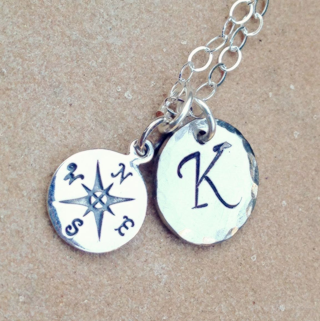 compass necklace, intial necklace, personalized jewelry, personalized gifts, personalized necklace, natashaaloha, Mothers Day, necklace - Natashaaloha