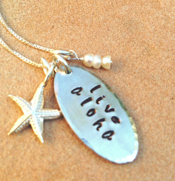 Live Aloha Necklace ,Hawaiian necklace, Natashaaloha - Natashaaloha, jewelry, bracelets, necklace, keychains, fishing lures, gifts for men, charms, personalized,