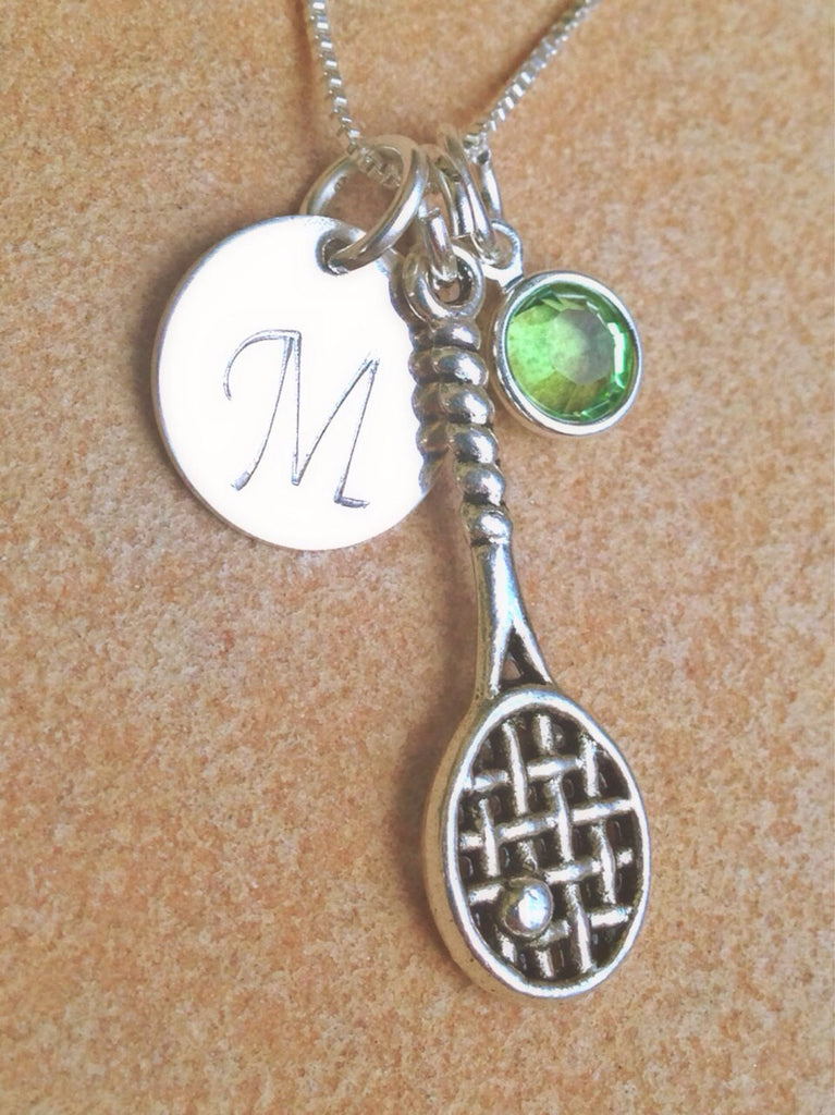 Monogram Necklace, tennis necklace, sport necklace, personalized necklace, personalized gifts, necklace, natashaaloha, tennis - Natashaaloha, jewelry, bracelets, necklace, keychains, fishing lures, gifts for men, charms, personalized,