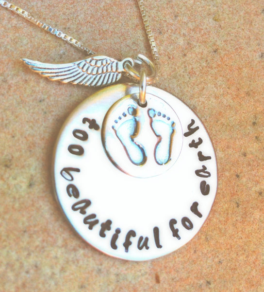 Personalized Necklace, Hand Stamped, too beautiful for earth, baby memorial, memorial necklace, loss of baby, natashaaloha, sympathy gift - Natashaaloha, jewelry, bracelets, necklace, keychains, fishing lures, gifts for men, charms, personalized,