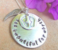 too beautiful for earth, baby memorial, memorial necklace, rememberance, loss of baby, natashaaloha, sympathy gift