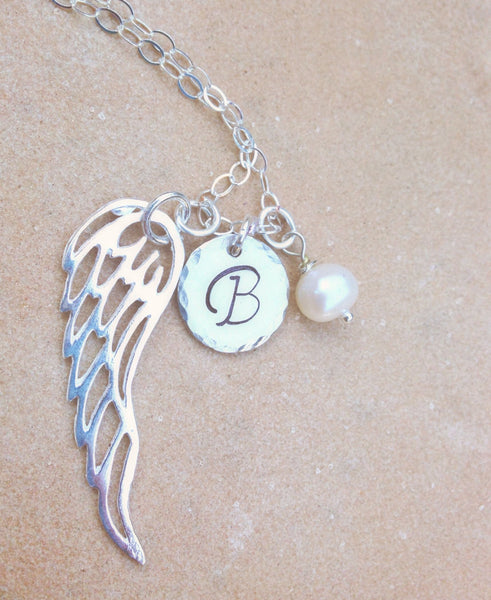 Personalized Necklace, Christmas Gift, Angel Wing Necklace, Gifts for Mom, Gifts for Daughter, natashaaloha