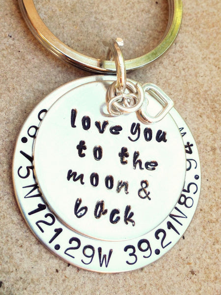 Father Gift, Boyfriend  Gift, keychain, key chain, love you to the moon and back, coordinate keychain, gifts for men, natashaaloha - Natashaaloha, jewelry, bracelets, necklace, keychains, fishing lures, gifts for men, charms, personalized,