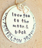 Love You To The Moon And Back Coordinate Necklace - Natashaaloha, jewelry, bracelets, necklace, keychains, fishing lures, gifts for men, charms, personalized,