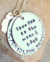 love you to the moon and back, coordinate necklace, personalized necklace, coordinate and state necklace, natashaaloha - Natashaaloha, jewelry, bracelets, necklace, keychains, fishing lures, gifts for men, charms, personalized,