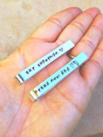 Tie Bar, Boyfriend Gift,Personalized Tie Bar,Groomsmen Gifts, Hand Stamped Tie Bars, natashaaloha - Natashaaloha, jewelry, bracelets, necklace, keychains, fishing lures, gifts for men, charms, personalized,