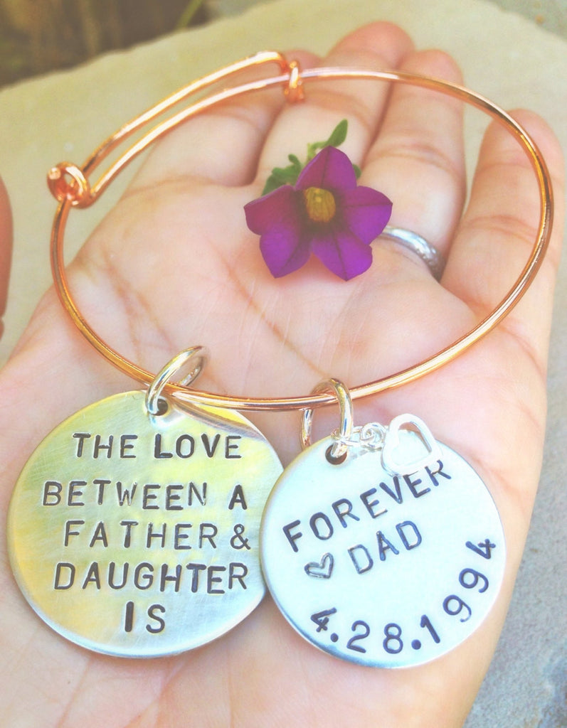 The Love Between A Father And Daughter Bangle Bracelet, Father Daughter Jewelry Gifts - Natashaaloha, jewelry, bracelets, necklace, keychains, fishing lures, gifts for men, charms, personalized,